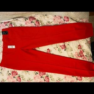 NYC red cropped dress pants